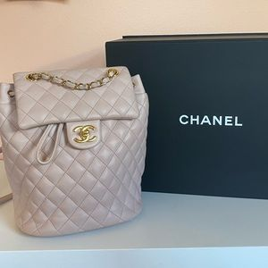 Chanel Quilted Baby Pink Leather Lambskin Backpack